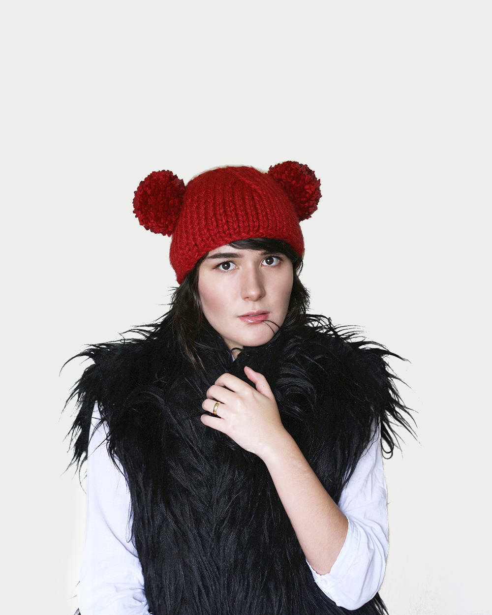 Pom Pom Bear Ear Beanie Mouse Hat Knit Hat with Two Pom  bda673427c8