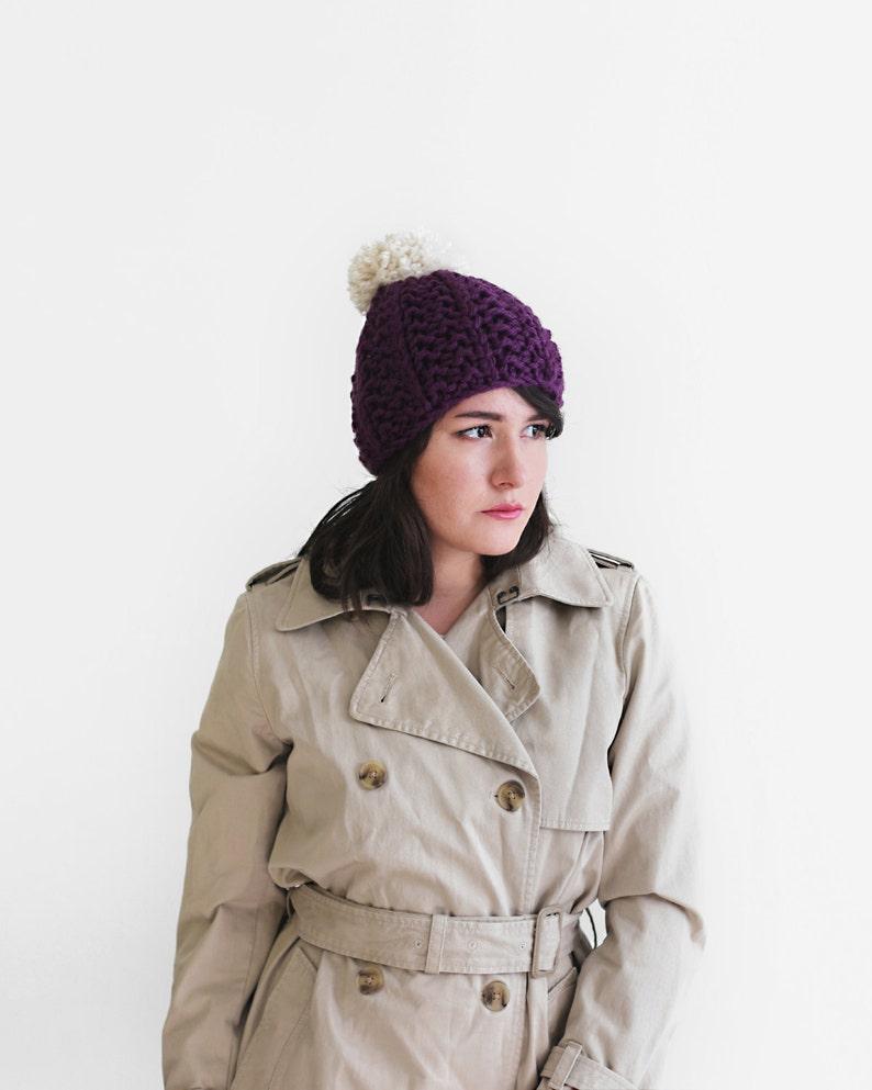 6469c526df17bb Pom Pom Hat Beanie Chunky Knit Hat in Plum and Cream   Etsy