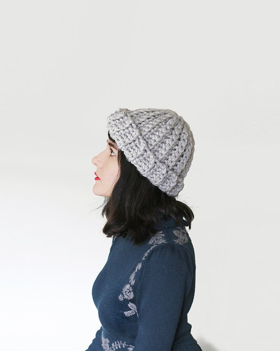 Chunky Ribbed Crochet Beanie Crochet Winter Hat in Grey  e1a39f4bed4