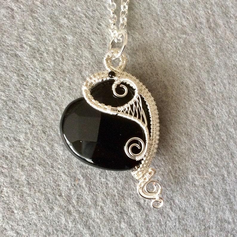handmade pendant UK seller wirework pendant black and silver pendant Asymmetric black agate heart pendant