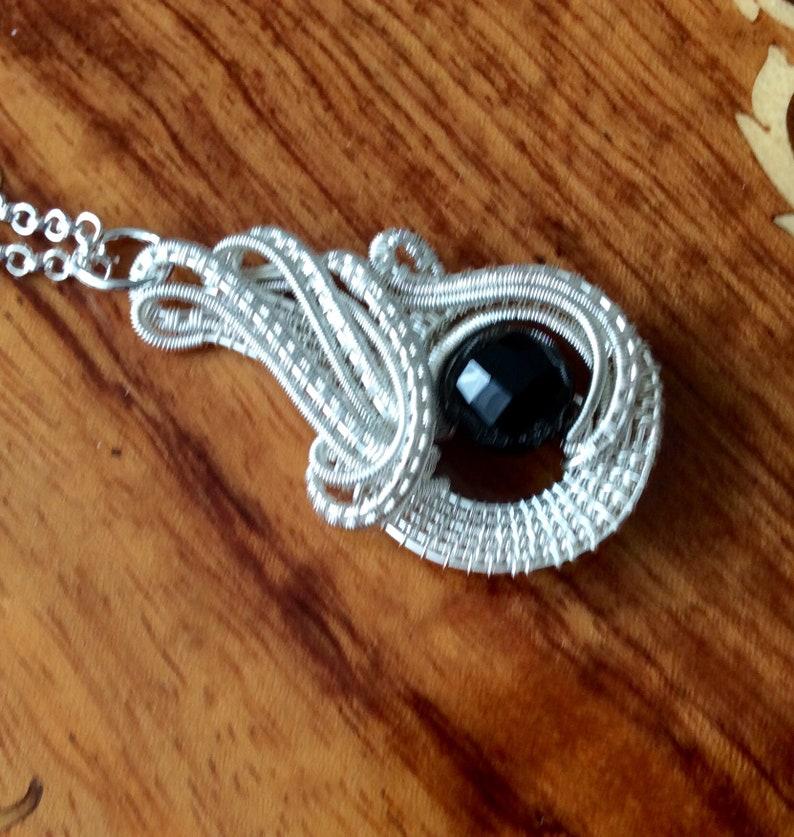 wirework pendant UK seller handmade pendant Swirly silver and faceted black quartz pendant