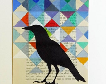 What Is, original art, crow, on vintage book page