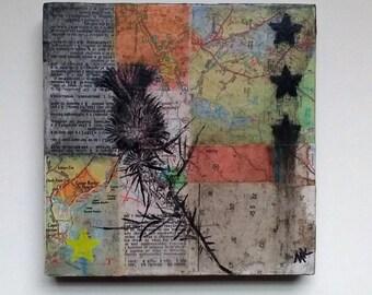 Dark Matter, original collage, found paper, thistle