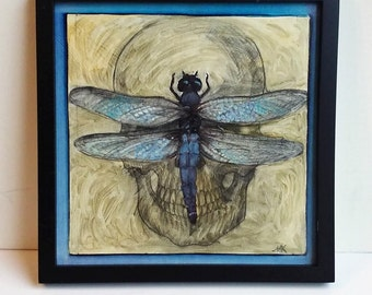 Libellule, original drawing, painting of skull and blue dragonfly
