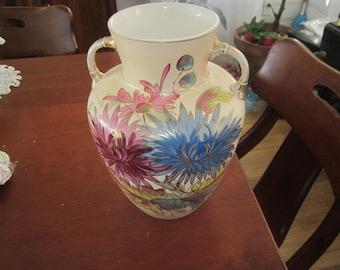1880's Royal Denton Burslem Vase, Hand Painted chrysanthemum