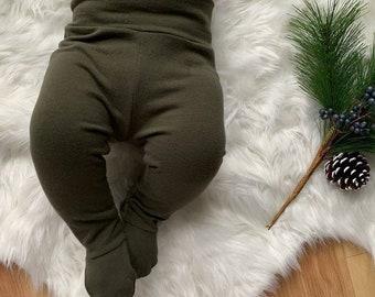 ef414d8f96ad4 Footed leggings Willictoria footies pajama pants footed pants baby leggings  with feet earthy color baby girl rust green pants mustard brown