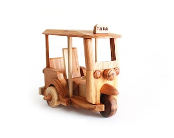 Wooden Toy Tuk Tuk Thailand Car 02 in Handmade