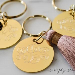 stocking stuffers for women Personalized engraved keychain Engraved gold keychain keychains for women with silk tassel sentimental gift