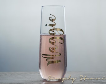 Chrome Gold Personalized Champagne flute, Bridesmaid gift, Matron of honor, wedding party, Bridal Party, Bridesmaid, Wedding, celebrate