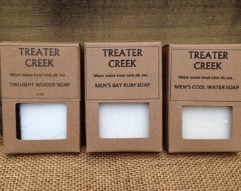 Men's Natural Face and Body Soap Bars in Cool Water or Bay Rum or Twilight Woods