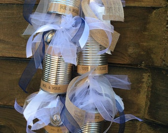 Wedding Tin Cans, Just Married Newlyweds, Leaving for Honeymoon, Bridal Shower Decorations, Reception Decorations, Mr. & Mrs.