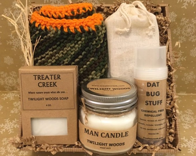Hunter's Gift Set with Man Candle and Camo Wash Cloth