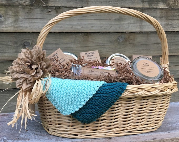Relaxation Gift Basket - Spa -  Relaxation -  Bath and Body -  Soy Candle with Wood Wick