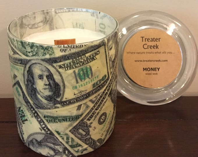 Money Candle, Smells Like Stacks of Cash, Wooden Wick Soy Wax