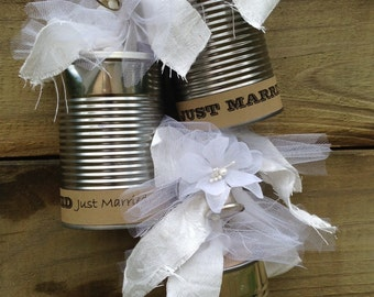 Wedding Tin Cans for Just Married Newlyweds Leaving for Honeymoon or Bridal Shower Decorations or Reception Decorations Mr. & Mrs.