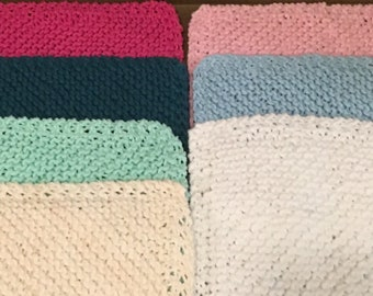 Three Knitted Wash Cloths 100% Cotton
