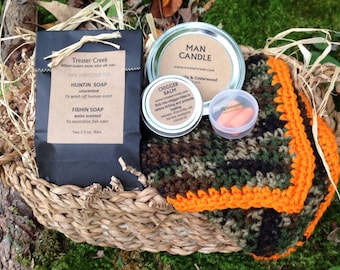 Hunter's Gift Set with Man Candle and Chigger Balm and Camo Wash Cloth