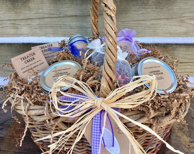 Lavender Gift Basket - Lavender Essential Oils- Luxury - Spa