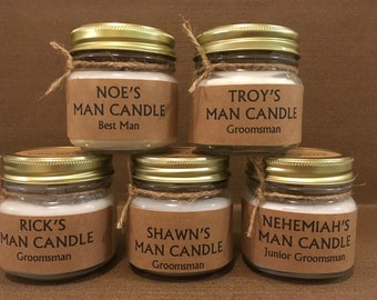 Man Candle, Personalization Available for Groomsmen