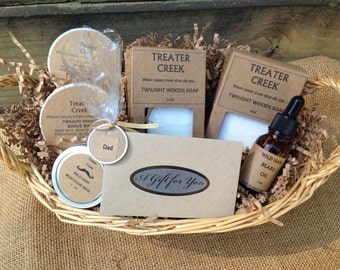 Mustache and Beard Grooming Father's Day Gift Basket for Dad