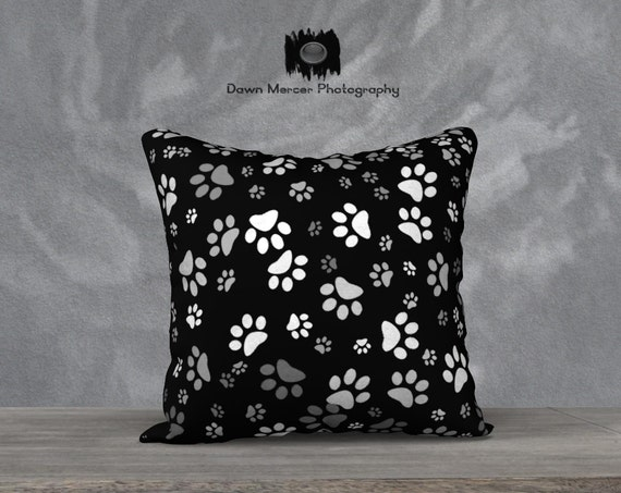 Paw Print Pillow Cover, Black Dog Paw Prints Throw Cushion Cover, Square Cushion Cover Case Cover, Pillow Case ONLY, FREE SHIPPING