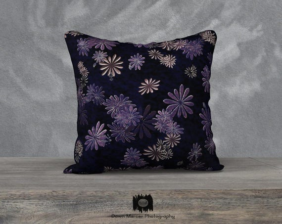 Fancy Daisy Pillow Covers Abstract Floral Cushion Cover Dark Blue Square Pillow Covers Artist Designed Custom Cushion Pillow Covers