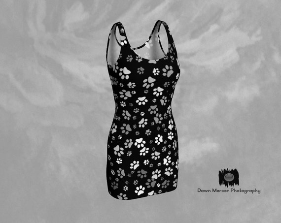 Paw Print Dress Dog Paw Print Black Dress With White And Grey Paw Prints, Designer Bodycon Dress, Custom Printed, Artist Designed