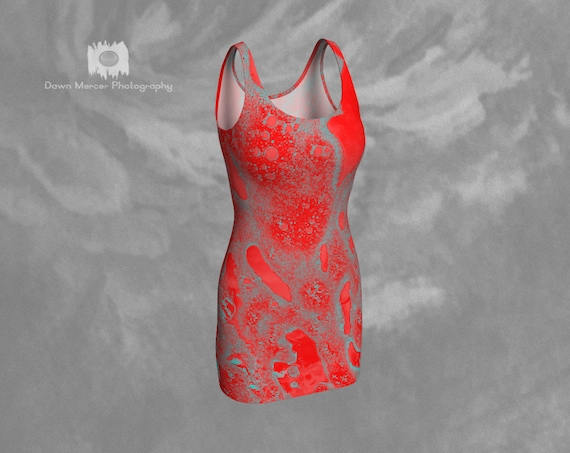Red Sexy Tight Dress Funky Stylish Tight Dress Unique Sleeveless Dress Red Abstract Art Dress Womens Bodycon Dress