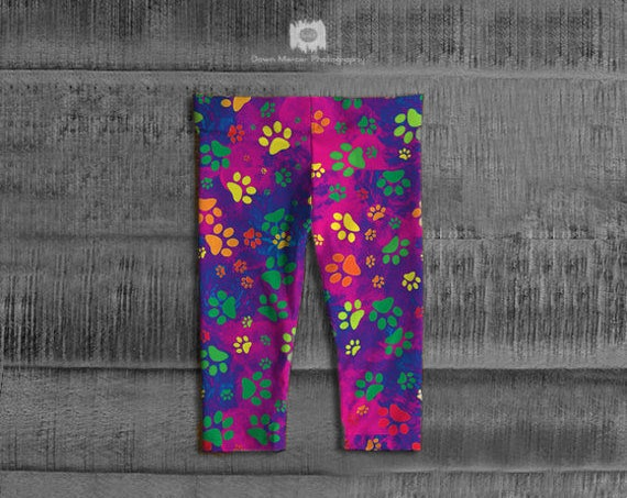 Paw Print Baby Leggings Tights Colourful Rainbow Printed leggings Dog Paw Print Leggings For Baby