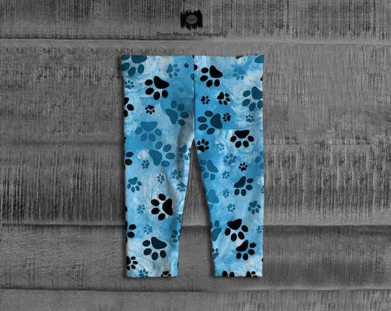 Baby Leggings Blue Paw Print Dog Paws Print Baby Fashion Leggings Blue Trousers Baby Girl Dog Paw Art Print Tights Pants, FREE SHIPPING