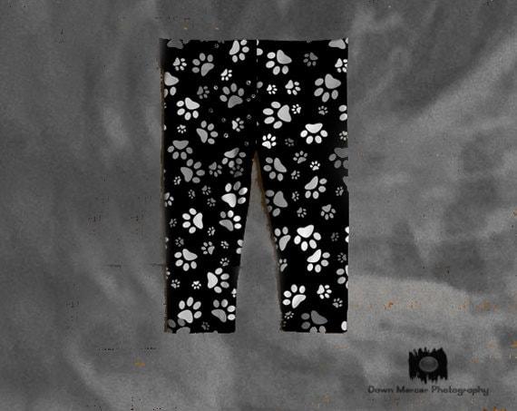Paw Print Baby Leggings, Black Leggings, Dog Paws Leggings Tights For Baby Girl, Artist Designed, Art Print Leggings, FREE SHIPPING