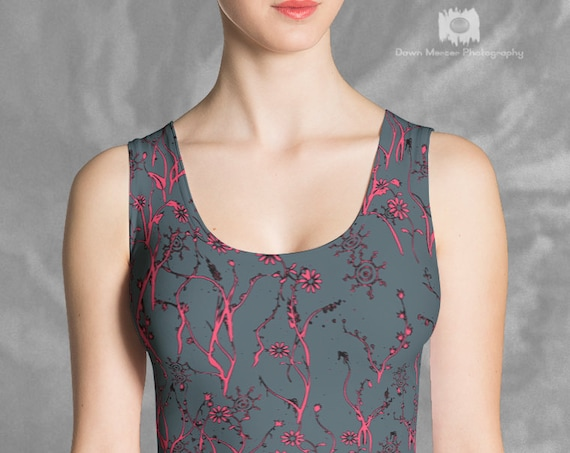 Floral Crop Top Printed Grey Pink Form Fitting Sleeveless Cropped Top For Women Graphic Art Design Premium Quality Custom Printed