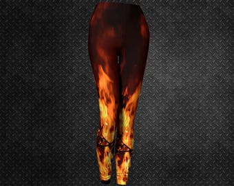 9a4b5b9816 Flame print leggings | Etsy