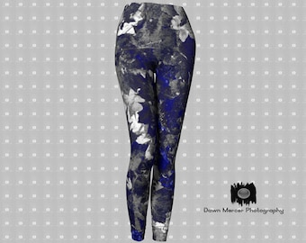 d319c725d18aa Leaf Art Leggings Blue Grey Nature Print Tights Fashion Yoga Wear Workout  Pants For Women Stylish Premium Quality High Waisted Artist Design