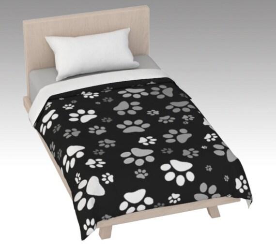 Paw Print Duvet Cover | Black White Paw Duvet Cover | Dog Paw Design | Custom Printed | Artist Designed