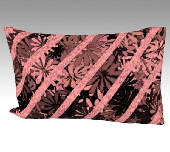 Flowers Art Silk Pillow Case | Mulberry Silk Pillowcase | Striped Pillow Cover