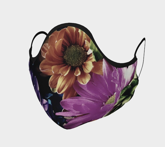 Spring Floral Face Mask Spring Flower Face Covering Artist Designed Custom Printed Available In Adult and Youth Sizes
