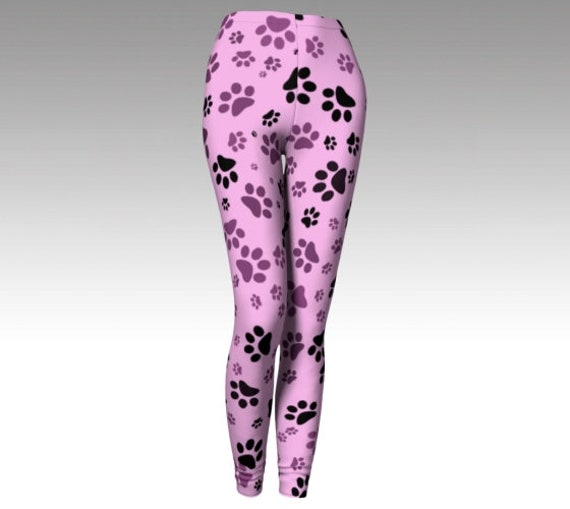 Pink Paw Print Leggings | Dog Print Tights | Yoga Pants | Workout Wear Womens