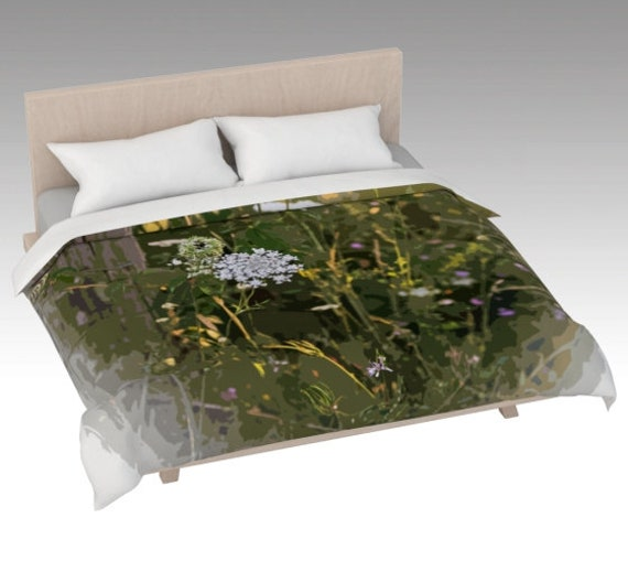 Field Flowers Duvet Cover | Nature Art Bed Covering | Nature Print Bed Cover Pink