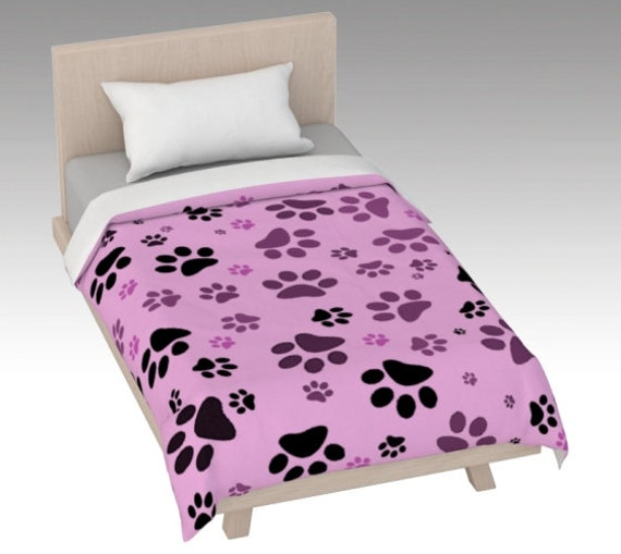 Pink Paw Duvet Cover | Dog Print Bed Cover