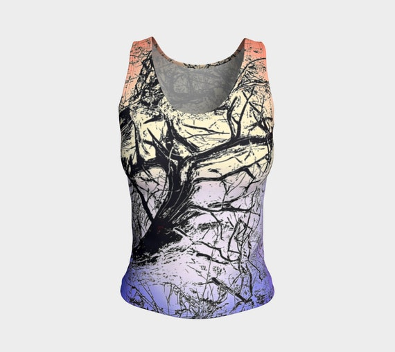 Art Tree Tank Top Fitted Colorful Tree Print Tank Top Nature Art Ladies Tank Top Womens Fitted Tank Top