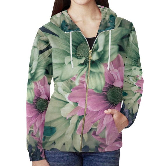 Daisy Print Hoodie Womens Zip Up Custom Printed Daisy Art Hoodie All Over Print Hoodie Artist Designed FREE SHIPPING