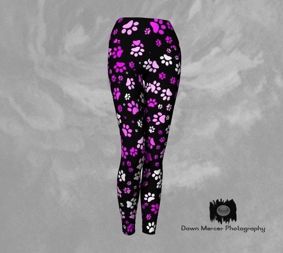 Paw Print Yoga Leggings, Paw Print Leggings, Yoga Tights, Pink Paws Print on Black Leggings, Designer Black Leggings with Hot Pink Paw Print