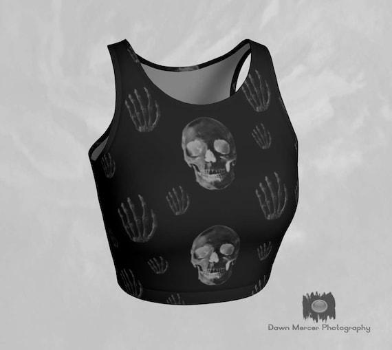Skull Crop Top Skull Print Top Black Printed Crop Top Tight Black Top Yoga Crop Top Athletic Top Cool Skull Print Tops For Women Tight Tops