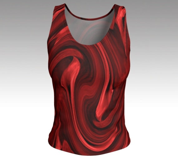 Red Painted Tank Top | Red Fitted Tank Top Womens