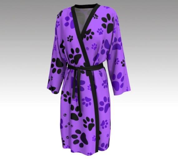 Paw Print Peignoir Robe   Purple Paws Robe For Women   Long Lounge Robe   Custom Printed   Artist Designed