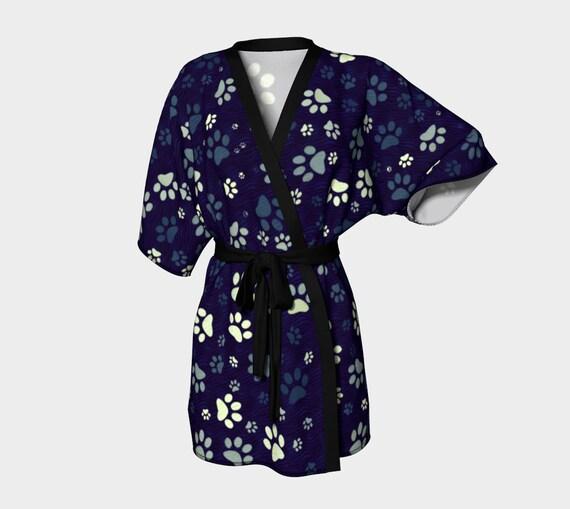 Paw Print Kimono Robe Blue Printed Dog Paw Kimono Robe For Women Unique Robe Yellow Dog Paw Prints Chiffon Kimono Silky Kimono Robe