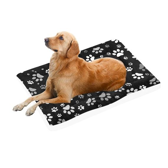 "Paw Print Dog Bed | Black Paw Print Doggie Bed | Pet Pad 54""x37"""