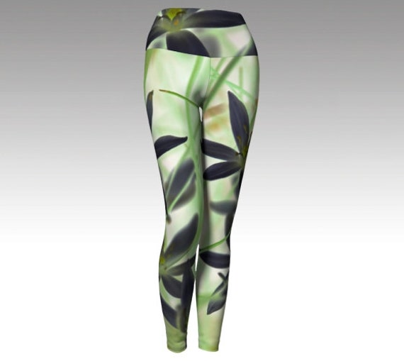 Flower Bliss Yoga Leggings   Floral Yoga Pants   Athletic Tights