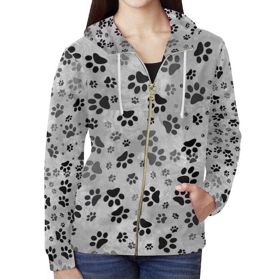 Grey Dog Paw Print Hoodie | Paw Design Zip Up Hoodie For Women